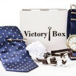 VictoryBoxes include a combination of ties, socks, tie clips, lapel pins, grooming products, bracelets, and more!